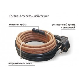 16 Grandeks 2- 8 м (16 Вт) Комплект нагревательный для защиты трубопроводов от замерзания (неэкранированный)