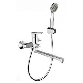 Смеситель для ванны Bravat Eco с душем длинный излив с душем
