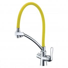 Lemark Comfort Смеситель 2 в 1 с гибким изливом и с подключением к фильтру жёлтый