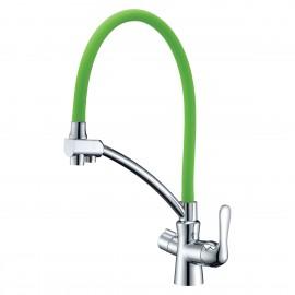 Lemark Comfort Смеситель 2 в 1 с гибким изливом и с подключением к фильтру зелёный