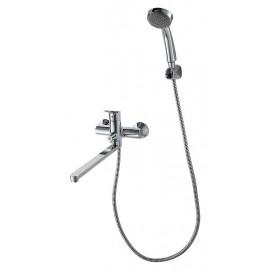 Смеситель для ванны Bravat Drop с длинным изливом и душевым гарнитуром