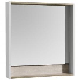 Акватон Капри 80 Зеркальный шкафчик с подсветкой цвет бетон пэйн