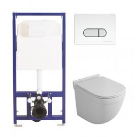 Комплект BERGES Novum D7 + OWL Eld Cirkel-H с сиденьем с микролифтом, кнопка хром глянцевый/белый