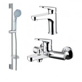 Промонабор Bravat Eler для ванны и душа с длинным изливом  и душевым комплектом + смеситель для раковины