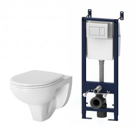 AM.PM Комплект инсталляция с клав белый с подвесным унитазом Sense с сиденьем микролифт