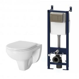 AM.PM Комплект инсталляция с клав хром с подвесным унитазом Sense с сиденьем микролифт