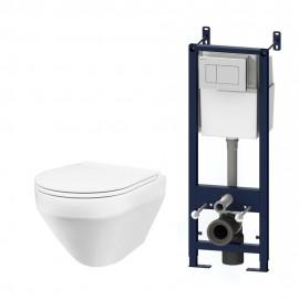 AM.PM Комплект инсталляция с клав белый с подвесным унитазом Spirit FlashClean с сид м/лифт