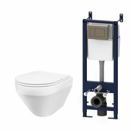 AM.PM Комплект инсталляция с клав хром с подвесным унитазом Spirit FlashClean с сид м/лифт